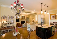 Breakfast nook and kitchen from the Runnymeade Plan 1164 http://www.dongardner.com/plan_details.aspx?pid=3402 The breakfast room is hugged by a bow window, as is the master bedroom. For entertaining, the breakfast room, great room, kitchen and dining room are all just a step away from one another. #Breakfast #Small #Cottage #House