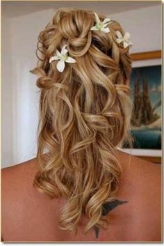 Wedding hairstyle with floral decoration