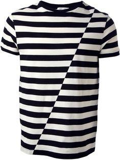 Trend: Stripes. Look: Saint Laurent asymmetric striped T-shirt.