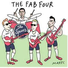 Belgian cartoon depicting supposed new fab 4 belgians at Spurs -verts, chadli,dembele and alderweireld