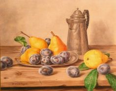 Oswald Eichinger German, b.1915 STILL LIFE WITH PEARS, PLUMS AND PEWTER COFFEE POT Belle Epoque, Still Life, Pewter, Plum, Pears, Coffee, German, Auction, Sweet
