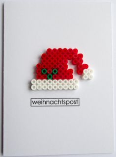 Weihnachtskarte Nikolausmütze - Weihnachtspost Source by christelzimmerm You may feel that the real Perler Bead Ornaments Pattern, Perler Bead Templates, Diy Perler Beads, Hama Beads Patterns, Perler Bead Art, Beading Patterns, Christmas Perler Beads, Peler Beads, Iron Beads