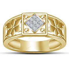 Nine Stone Men's Ring Brilliant Round Diamond 14K Yellow Gold Finish Size 7-14 #aonedesigns #NineStoneMensRing