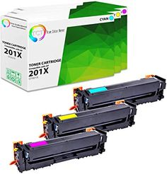 3 Pack TCT Compatible HP 201X High Yield Replacement Toner Cartridge  Replaces OEM: CF401X / CF402X / CF403X  Box Contains: 1 Cyan, 1 Magenta, 1 Yellow toner cartridges  Printer Compatibility: HP Color LaserJet Pro M252dw M252n, MFP M277dw M277n  TCT: Print Quality Beyond Your Expectations! With TCT premium toner cartridges, you can enjoy the full benefits of high quality printing and exponential savings.