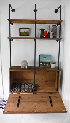 Latest DIY Pipe And Wood Shelves Another Great Diy Plumbing Pipe Shelf Hidden Storage Trunks And in Home Interior Design Reference Pipe Bookshelf, Diy Pipe Shelves, Plumbing Pipe Shelves, Plumbing Pipe Furniture, Industrial Pipe Shelves, Reclaimed Wood Shelves, Diy Furniture, Pipe Shelving, Rustic Industrial