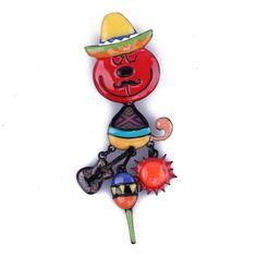 Broche le chat mexicain rouge et multicolore