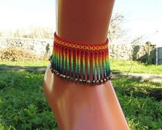 Mexican handmade anklet, handmade by Mexican artisans, Huichol anklet, handmade jewelry, Mexican folk art Beaded Anklets, Beaded Jewelry, Handmade Jewelry, Bead Jewellery, Jewelery, Beaded Bracelets, Ankle Chain, Ankle Strap, Mexican Jewelry