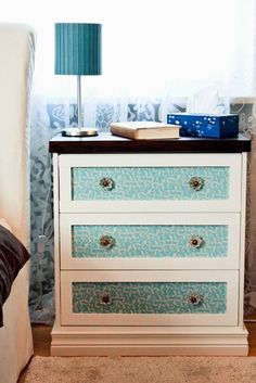Jenny featured this transformation of a RAST dresser into a floral, fun chest. This is on the easier end of the scale, with a coat of paint and new brass hardware.