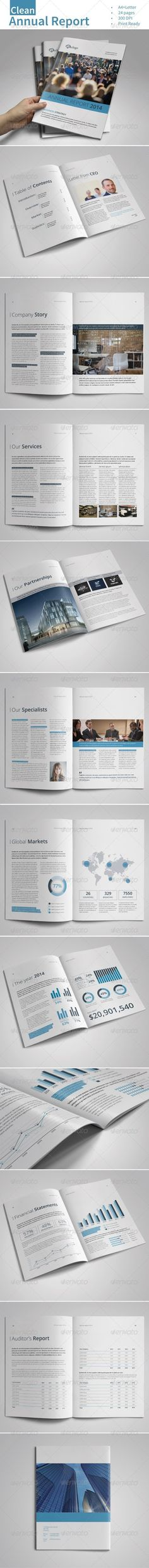 Clean Annual Report Vol.1 — InDesign INDD #company profile #report • Available here → https://graphicriver.net/item/clean-annual-report-vol1/7415225?ref=pxcr