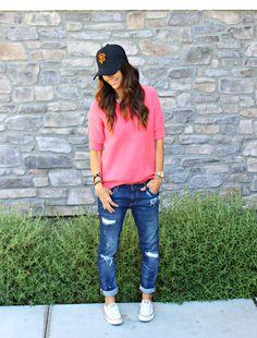 Distress Jeans & Sweater.