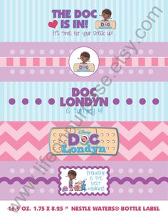 Doc McStuffins Birthday Party Water Bottle Labels on Etsy, $5.00