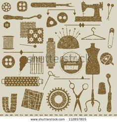 Vintage textured sewing and tailoring symbols by Aleksandra Novakovic, via ShutterStock