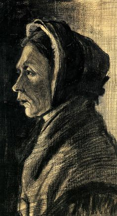Head of a Woman - Vincent van Gogh . Created in The Hague in January , Located at Van Gogh Museum Artist Van Gogh, Van Gogh Art, Art Van, Vincent Van Gogh, Van Gogh Drawings, Van Gogh Paintings, Theo Van Gogh, Van Gogh Portraits, Post Impressionism