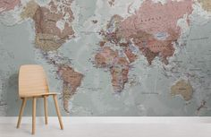 classic-world-map-maps-room Quality Classic World Map Mural, custom made to suit your wall size, and fully customisable. A classic wallpaper style that will be timeless in your space. World Map Mural, World Map Wallpaper, World Map Poster, Wall Wallpaper, Brick Wallpaper Office, Nature Wallpaper, Wallpaper Jungle, Underwater Wallpaper, Graffiti Wallpaper
