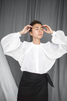 WHITE OVERSIZED BLOUSE - loose fit cotton minimalistic one size blouse by flavourknit on Etsy