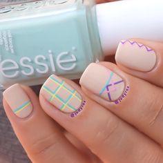 Detailed geometric nail art by @judyrox