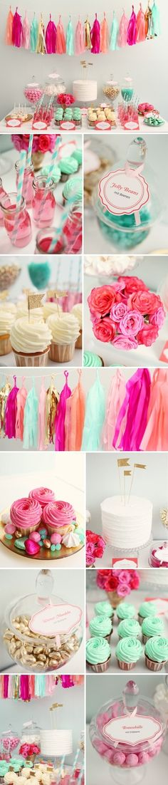 bright (and light) pink, bold mint and gold