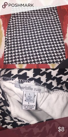 Charlotte Russe Black/White Printed Bodycon Skirt worn maybe once or twice. its a very soft skirt and super cute with any color shirt. 95% cotton and 5% spandex. Size L. Charlotte Russe Skirts