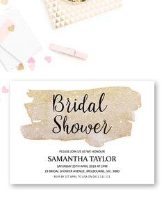 Gold bridal shower invitation printable, shimmer sparkle bridal shower ideas, glamour bridal shower invites from Pink Summer Designs on Etsy
