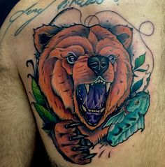 Bear neotraditional tattoo by Juan David Castro R