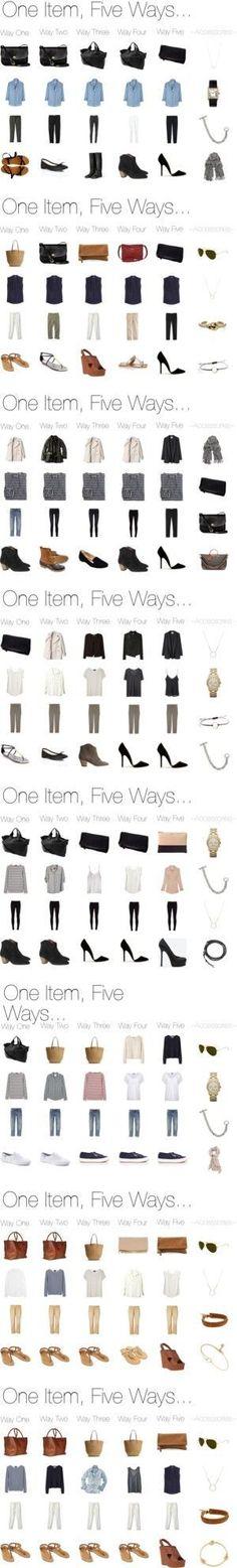 """My Capsule Wardrobe Basics """"One Item, Five Ways. Image Fashion, Look Fashion, Fashion Beauty, Autumn Fashion, Womens Fashion, Fashion Tips, Trendy Fashion, Style Work, Mode Style"""