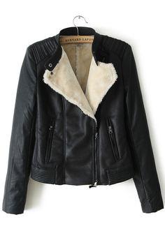 Black Long Sleeve Oblique Zipper PU Leather Jacket 29.50