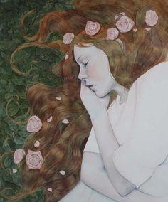 ⊰ Posing with Posies ⊱ paintings of women and flowers - Teresa Jenellen