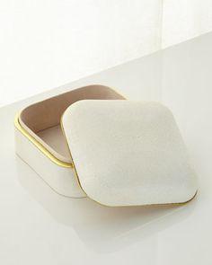 Cream Shagreen Square Box by AERIN at Neiman Marcus.