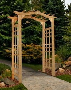 New England Arbors - Westwood Cedar Arbor - It features a classic arch top design and a 42 in. It is pre stained and the side panels are assembled making it an easy installation. Comes with a 1 year warranty. Cedar Garden, Garden Arbor, Garden Trellis, Wooden Garden, Garden Gates, Easy Garden, Garden Planters, Garden Beds, Pergola Shade