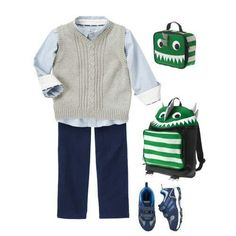 Who says school uniforms have to be boring? This is stylish, and the monster backpack is just plain fun! Toddler Outfits, Kids Outfits, Monster Backpack, Kids Wear Boys, School Looks, Gymboree, Back To School, School Uniforms, Stylish