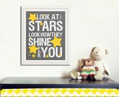 Nursery decor, baby nursery art. Nursery wall quote, inspirational typography print. grey yellow look at the stars. 8x10 print by Wallfry