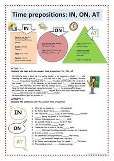 Time Prepositions: IN, ON, AT worksheet - Free ESL printable worksheets made by teachers English Prepositions, English Grammar Worksheets, Grammar Lessons, English Vocabulary, English Class, English Lessons, Learn English, English Time, English Language Learning