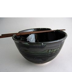 A Unique Gift Idea from ArtCraftGifts - Handmade pottery rice bowl with chopsticks black gallery