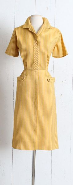 Vintage 1940s Dress vintage 40s mustard stripe wool blend