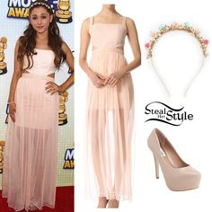 Ariana arrived at the 2013 Radio Disney Music Awards yesterday wearing a Alice + Olivia Sweetheart Cutout Dress ($697.00), a pair of Steve Madden Dejavu Pumps ($99.95) and an Urban Outfitters Flower Garden Headband ($19.00). You can get a similar dress from Pixie Market ($69.00). -Steal Her Style
