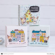 Little Reindeer Agenda with Vera Mama Elephant Stamps, Elephant Crafts, Holiday Cards, Christmas Cards, Christmas Decorations, Wholesale Crafts, Ideas Hogar, Shaped Cards, Elephant Design