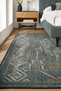 This hand-knotted rug is made of pure wool and features a pattern taken from traditional Chinese fretwork with modern colors. Modern Entryway, Entryway Furniture, Master Bedroom Design, Modern Colors, Modern Rugs, Wool Rug, Bedroom Decor, Town House, Rugrats