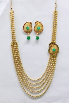 Antique golden red green n white pearls side locket necklace set