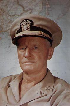 Portrait of US Navy Fleet Admiral Chester Nimitz, circa 1945.