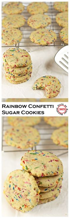 Rainbow confetti sugar cookies make the perfect fun school treat. So festive…
