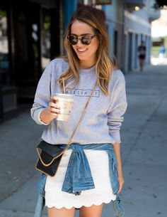 Gal Meets Glam blog, Denim shirt, white skirt and grey college sweater.