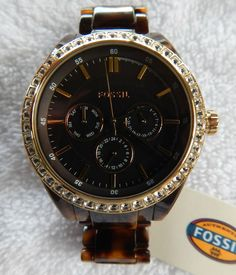 Fossil WATCH Tortoise Band BLING
