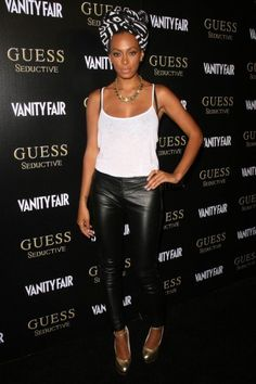 Solange Knowles, Leather Pants & African 'Turban'