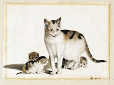 G Mind, mother cat and kittens, cat art