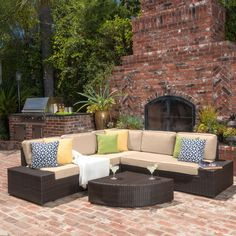 Belham Living Luciana Bay Wicker Sofa Sectional Set With