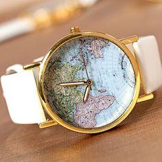White leather Unisex world map watch bracelet wrap fashion jewelry wristwatches wrist watches women.