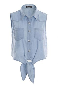 A fashion look from September 2015 featuring polo collar shirts, white denim shorts and laced up shoes. Browse and shop related looks. Sleeveless Denim Shirts, Blue Denim Shirt, Denim Crop Top, Denim Blouse, Blue Crop Tops, Crop Blouse, Crop Shirt, Blue Blouse, Collar Blouse