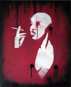 Smoking Android graffiti street art by Mr Pilgrim - buy graffiti art online, wall canvas art for sale, stretched canvas wall art, pop art on canvas. Graffiti Art For Sale, Graffiti Wall Art, Art For Sale Online, Online Art, Futuristic Art, Fantasy Illustration, Stencil Art, Street Artists, Art Auction