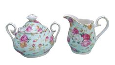 Amazon.com: Gracie China Rose Chintz Porcelain 2-Piece Sugar and Creamer Set, Blue Cottage Rose: Cream And Sugar Sets: Kitchen & Dining