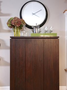 Simply Beautiful Bar w/ Storage >> http://www.hgtv.com/decorating-basics/sabrinas-best-high-to-low-makeovers/pictures/page-14.html?soc=pinterest